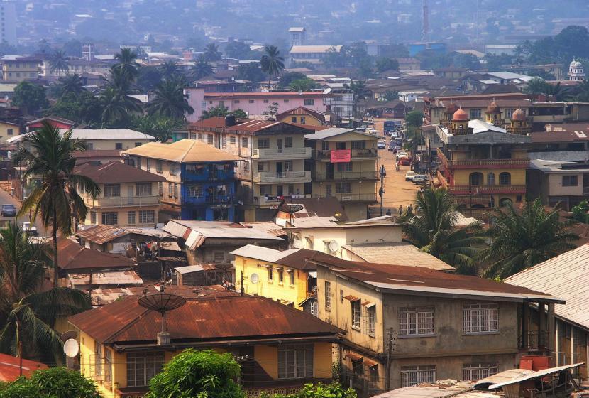 Aerial view of homes in Freetown, Sierra Leone