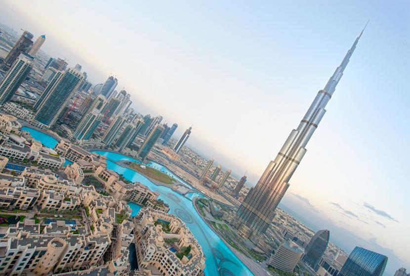 Aerial view of Dubai in the U.A.E.