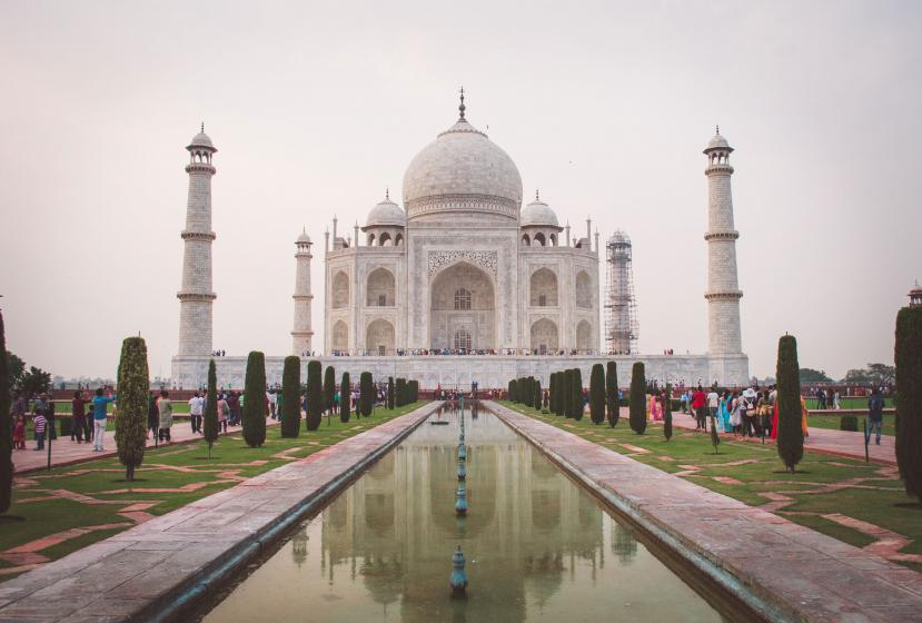 Tourists visit the Taj Mahal in Agra, India