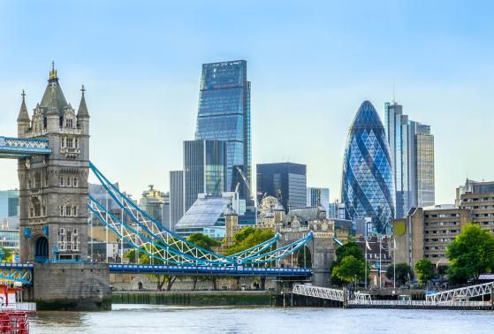 A view of London's financial district and the London Bridge from across the River Thames