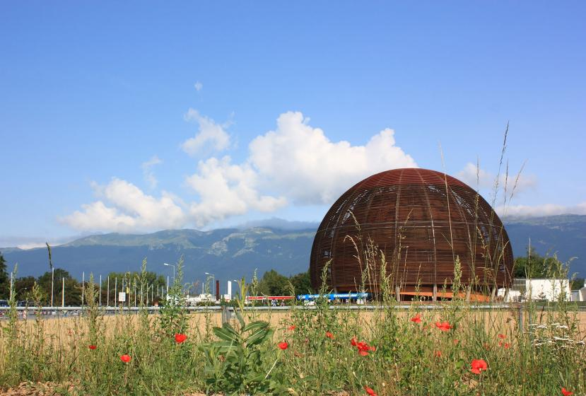 A view of the European Organization for Nuclear Research outside Geneva, Switzerland