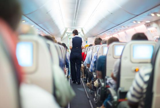 A flight attendant prepares the cabin and passengers for take off
